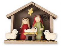 Christmas Nativity Set Ornament with Shed
